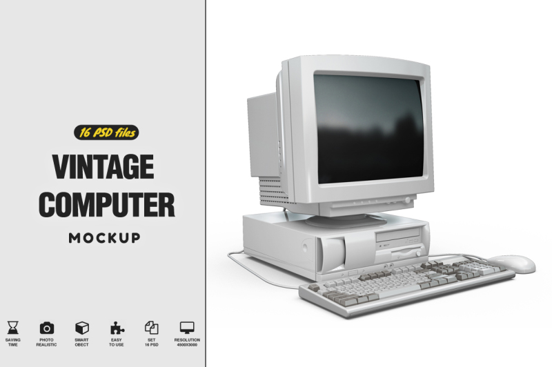 Free Vintage Computer Mockup (PSD Mockups)