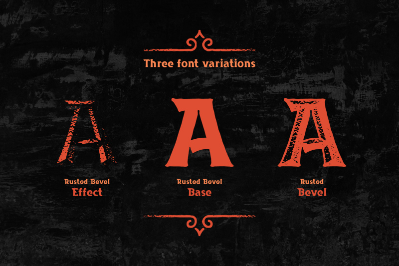 rusted-bevel-typeface