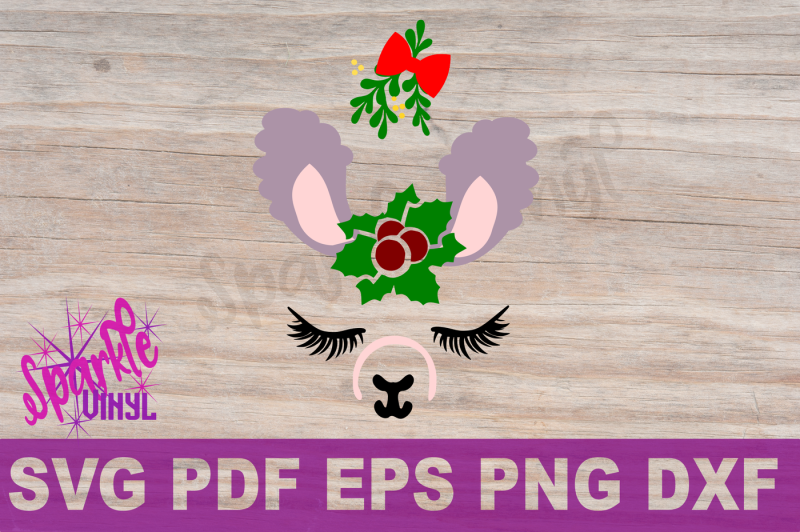 svg-christmas-llama-face-with-holly-and-mistletoe-christmas-printable-or-svg-cut-file-for-cricut-or-shilhouette-with-dxf-png-pdf-eps-llama
