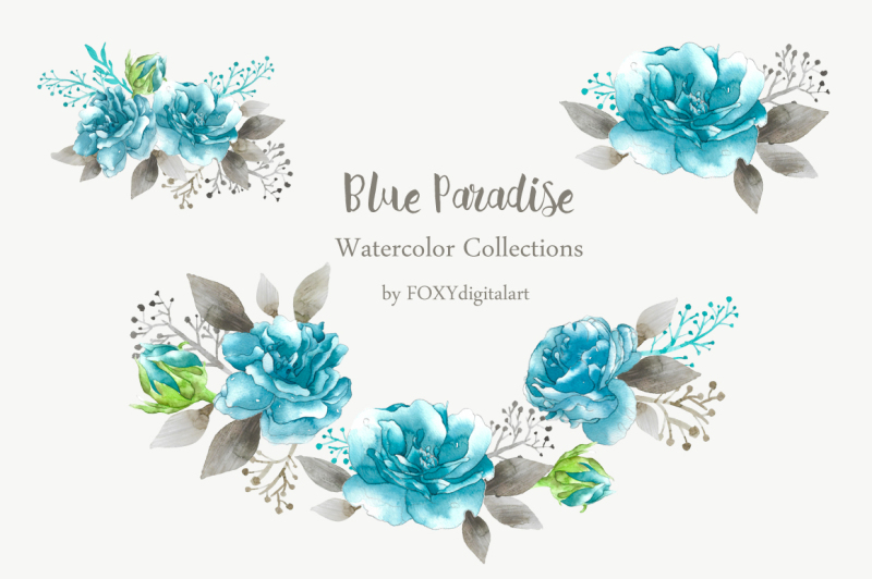 rose-clipart-watercolor-blue-floral-wedding