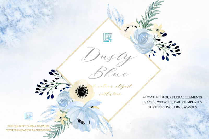 dusty-blue-and-gold-watercolour-flowers-digital-clipart-hand-drawn-soft-blue-grey-and-cream-colors