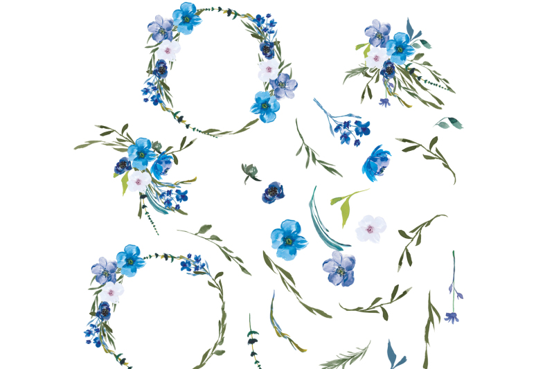 hand-painted-watercolor-blue-flowers
