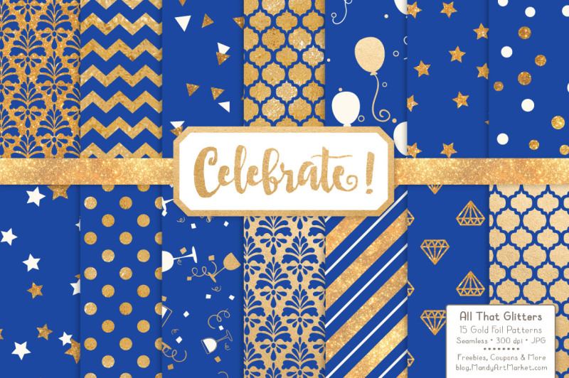 celebrate-gold-glitter-digital-papers-in-royal-blue