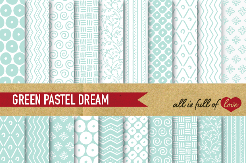hand-draw-aqua-green-digital-paper-pack-dream-collection
