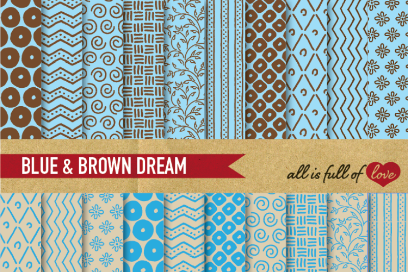 hand-draw-blue-brown-digital-paper-pack-dream-collection