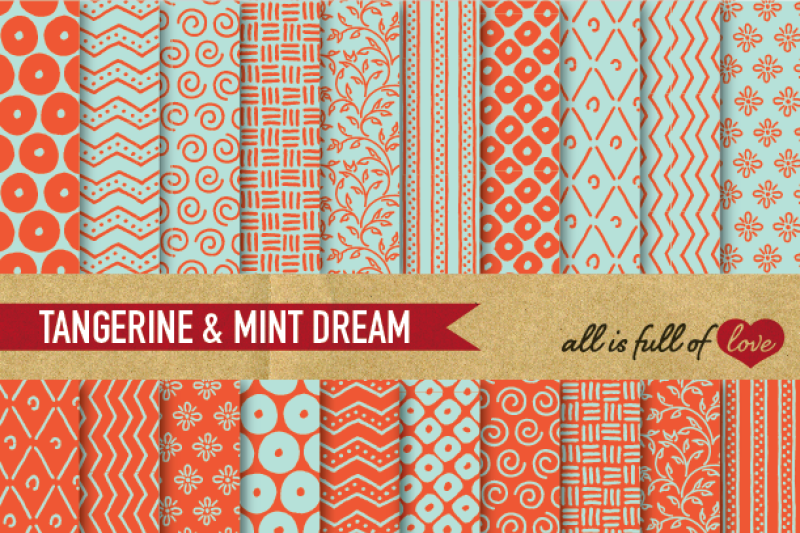 hand-draw-orange-mint-digital-paper-pack-dream-collection
