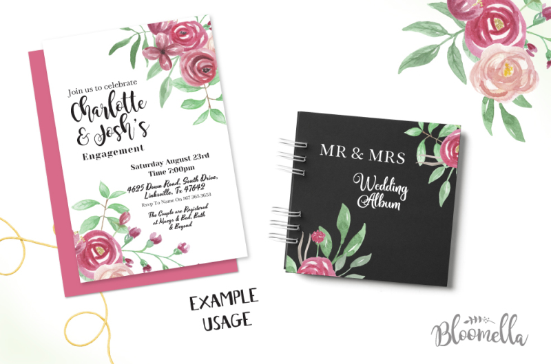 30-watercolour-clipart-elements-spring-summer-wedding-hand-painted-rose-crimson-pieces