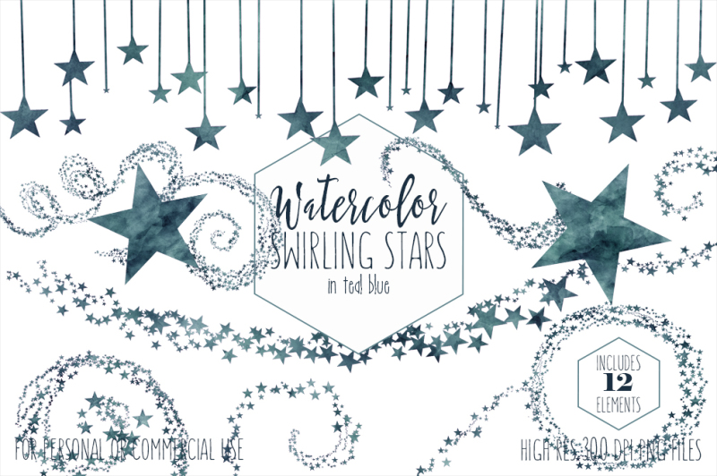 teal-dark-blue-twinkle-star-graphic-set