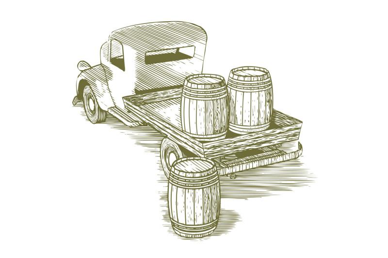 woodcut-vintage-truck