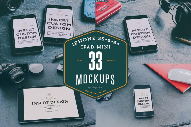 Free 33 iPhones 5s, 6, 6+ & iPad mockups (PSD Mockups)