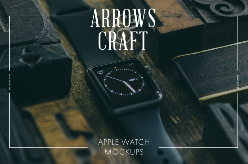Free Arrows & Craft - Apple Watch Mockups (PSD Mockups)