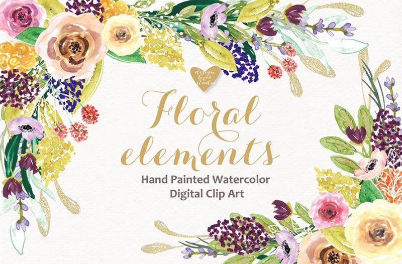 watercolor-floral-elemets