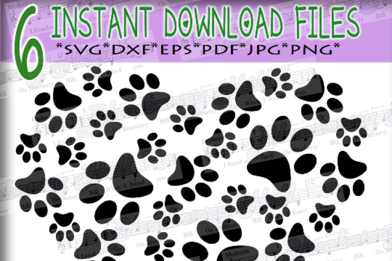 Download Paws Print Heart - Paw Print SVG - Paw Prints pattern ...