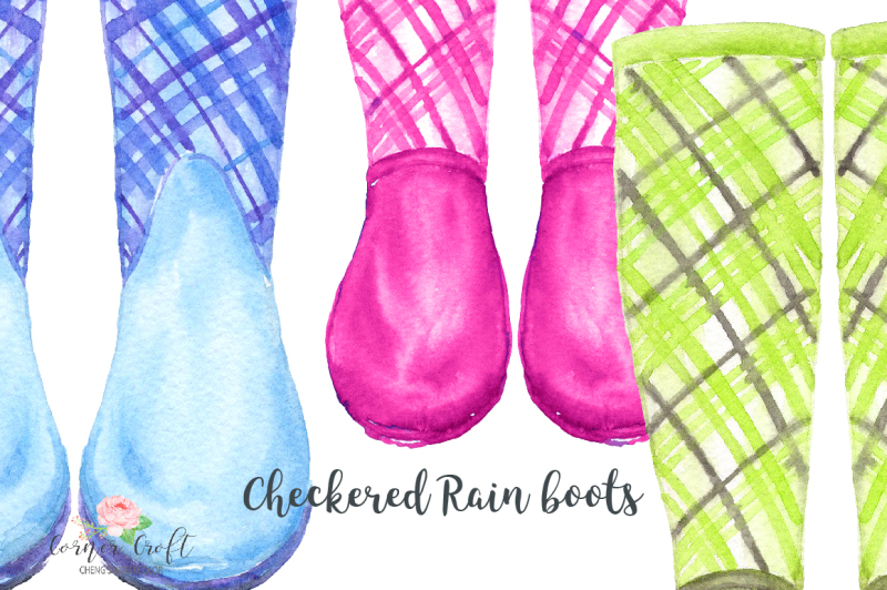 watercolor-checkered-rain-boots