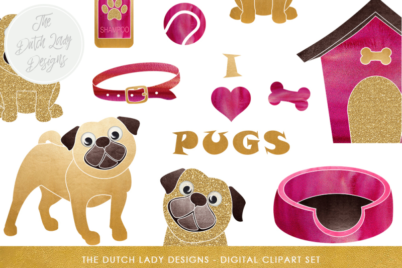 pug-and-dog-accessories-clipart-set-in-fuchsia-pink-and-gold