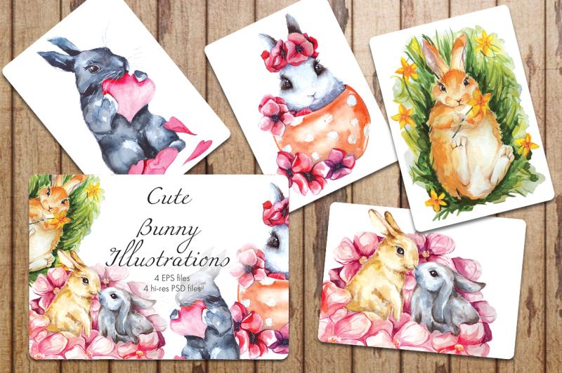 cute-bunny-watercolor-illustrations