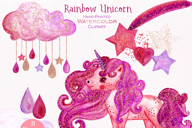 pink-and-gold-rainbow-unicorn-clipart