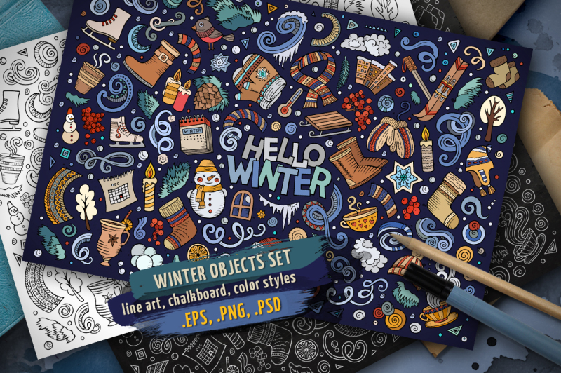 winter-objects-and-elements-set