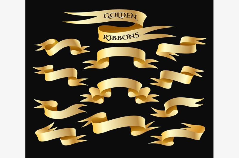 golden-ribbon-banner-set