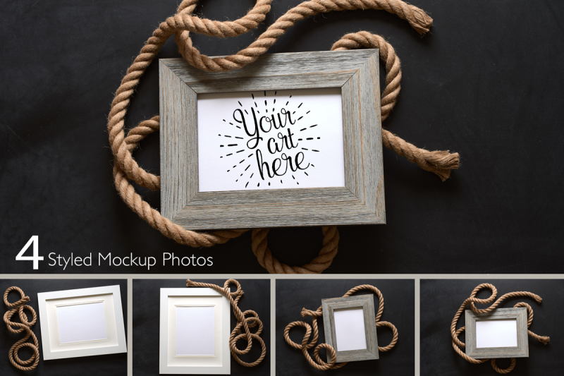 Free Nautical Rustic Rope And Wood Picture Frames On Chalkboard Background Mockup (PSD Mockups)