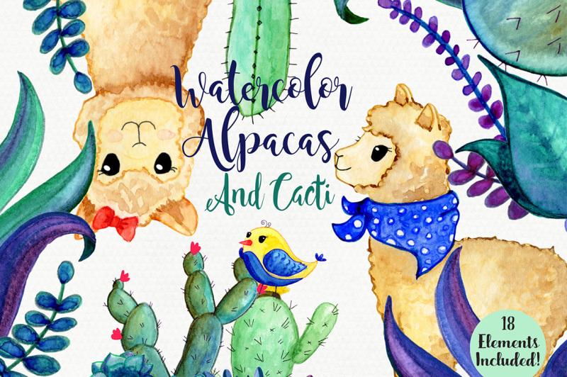cute-watercolor-llamas-cactus-and-succulents