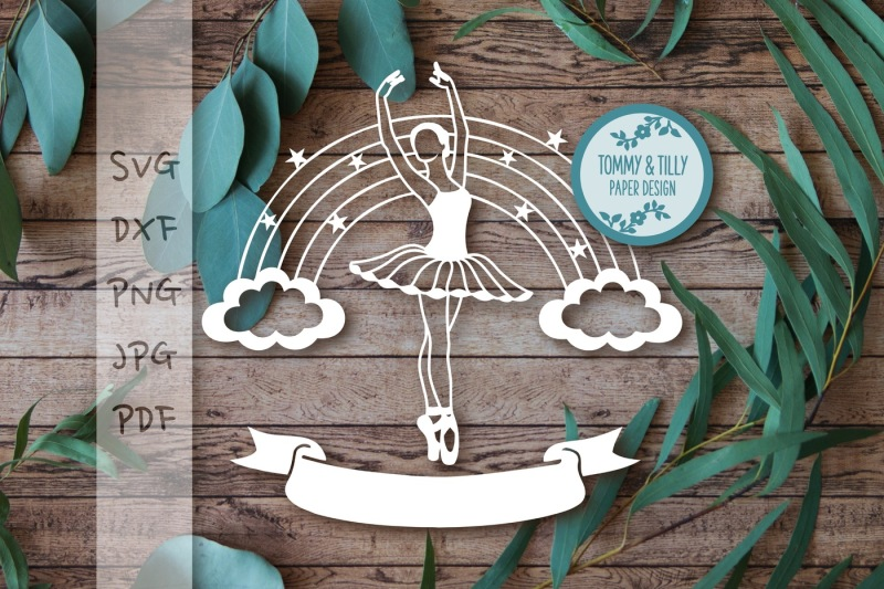 Ballerina Rainbow X 2 Cutting File Svg Dxf Png Pdf By Tommy And