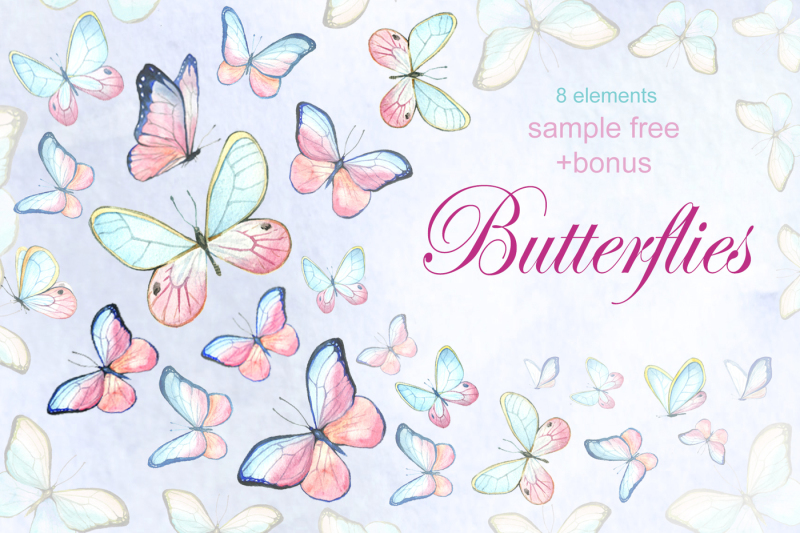 watercolor-collection-of-butterflies
