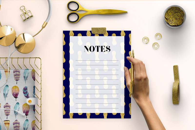 gold-and-navy-printable-notes-page