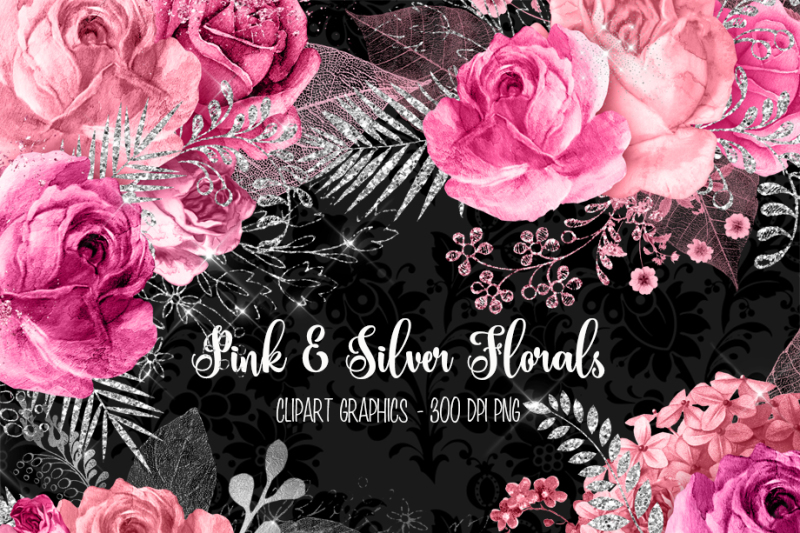 pink-and-silver-floral-clipart
