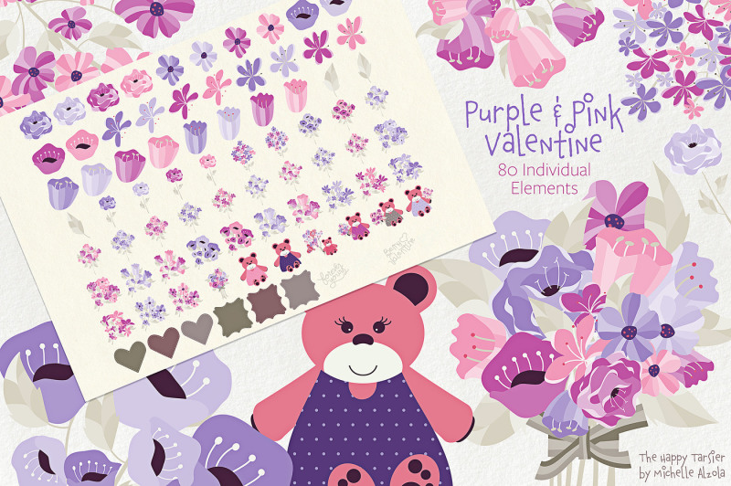 purple-and-pink-valentine-floral-clipart-vectors-seamless-pattern
