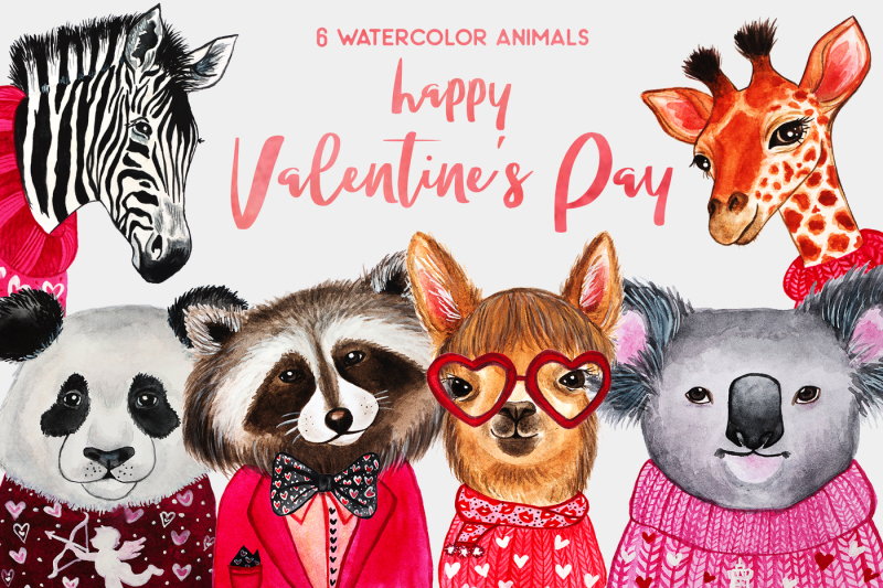 valentine-s-day-watercolor-animals