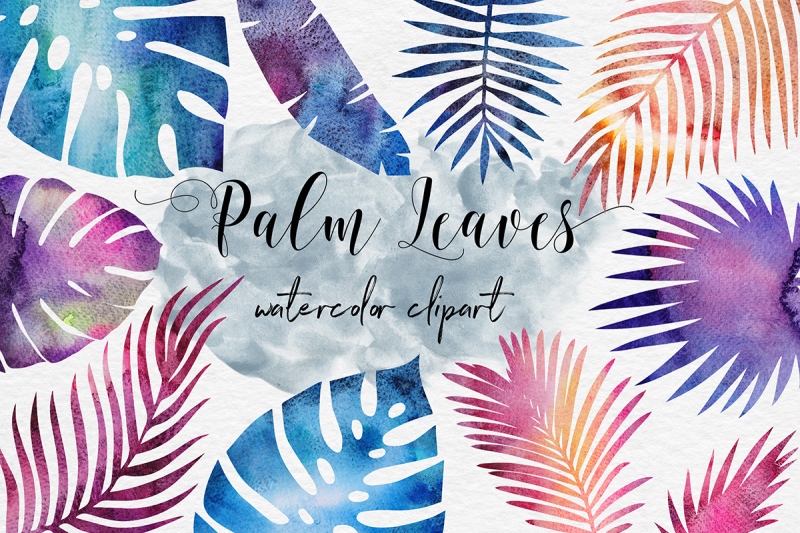 galaxy-watercolor-palm-leaves