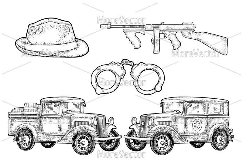 retro-police-car-sedan-with-sheriff-star-and-pickup-truck-with-wood-ba