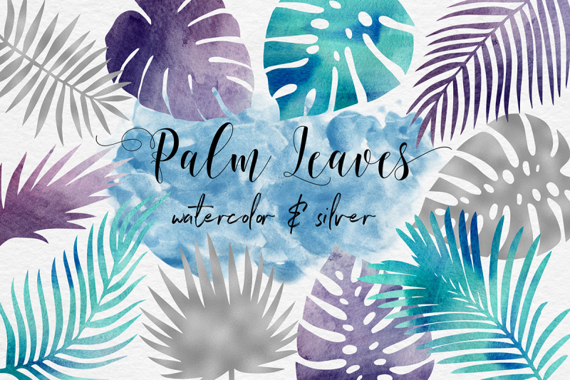 silver-and-watercolor-tropical-leaves