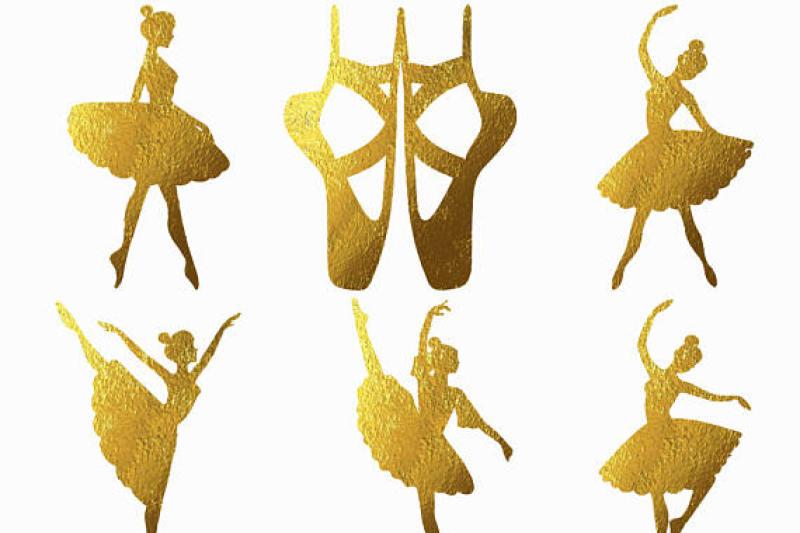 ballerina-gold-foil-silhouette-clipart