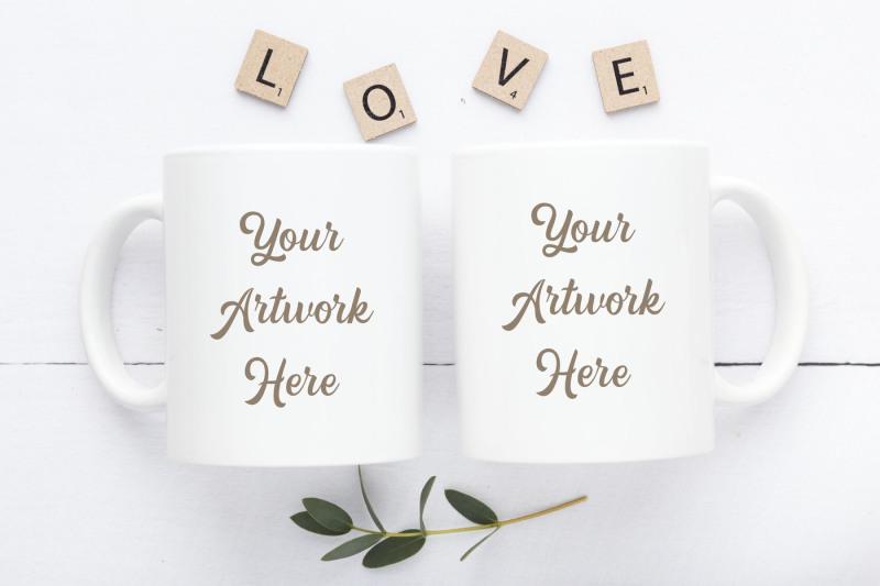 Free Double Mug Mockup -LOVE (PSD Mockups)
