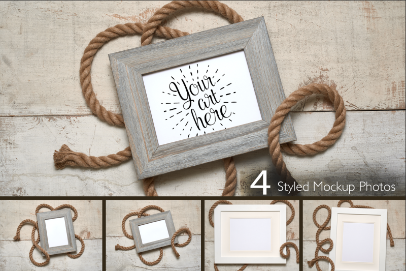 Free R Frame With Rope On Rustic White Barn Wood Background (PSD Mockups)