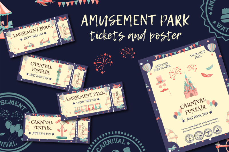 amusement-park-tickets-and-poster