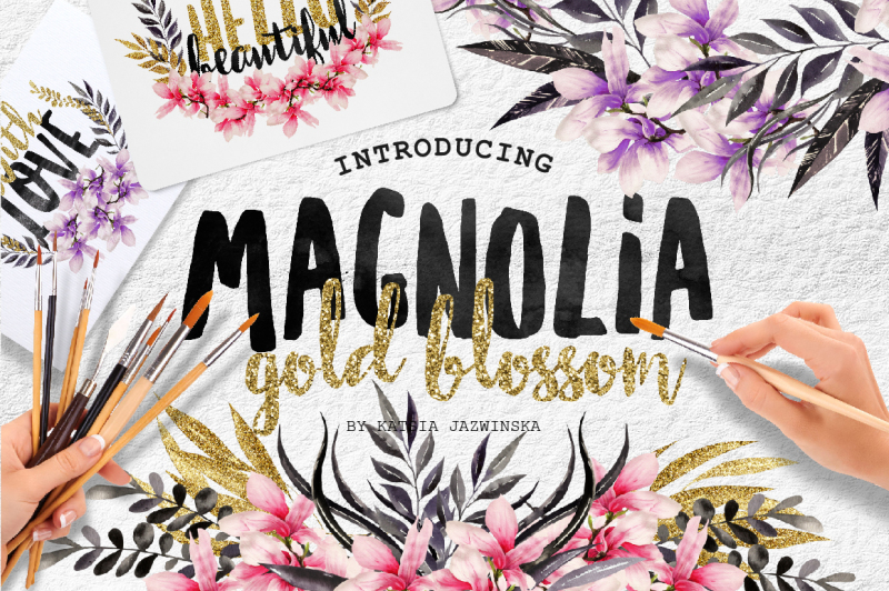 magnolia-gold-blossom-watercolor-set