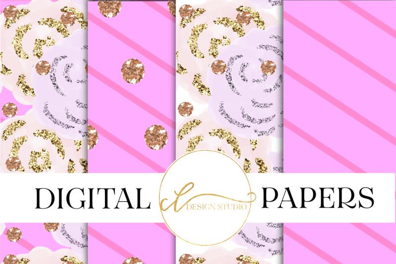 pink-garden-digital-papers