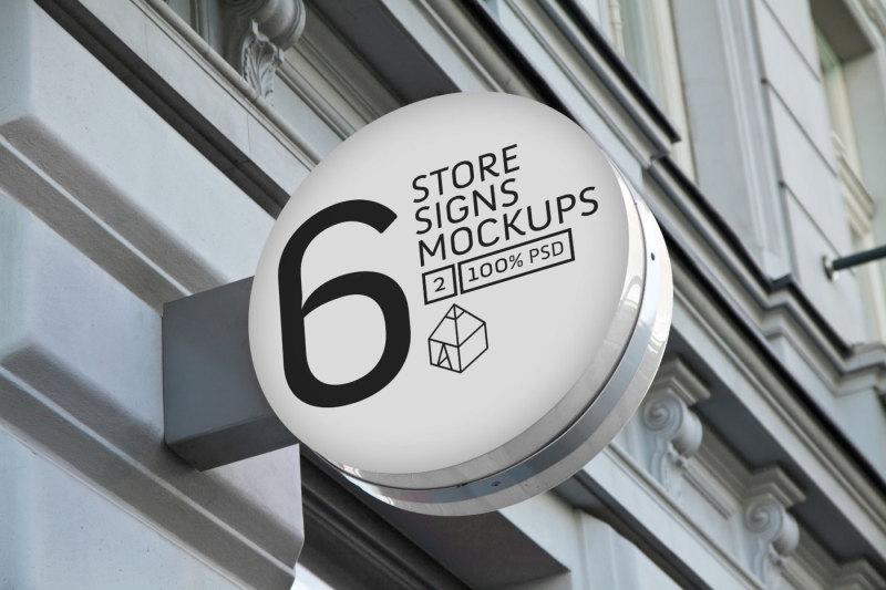Free Store Signs Mock-ups 2 (PSD Mockups)