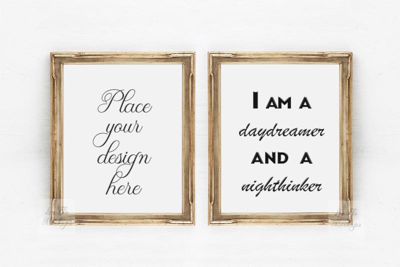 Free 2 Gold frame mockup, Two Art deco frames, Vintage Rustic template mock (PSD Mockups)