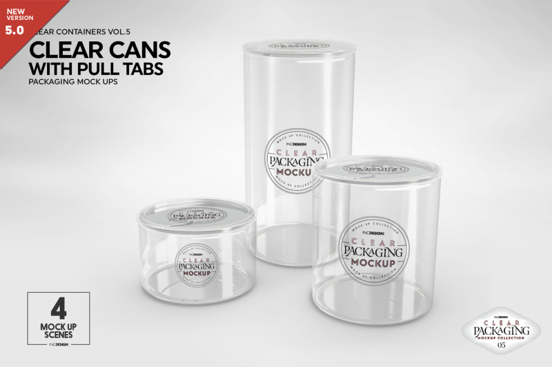 Free Clear Cans with Pull Tabs Mock Up (PSD Mockups)