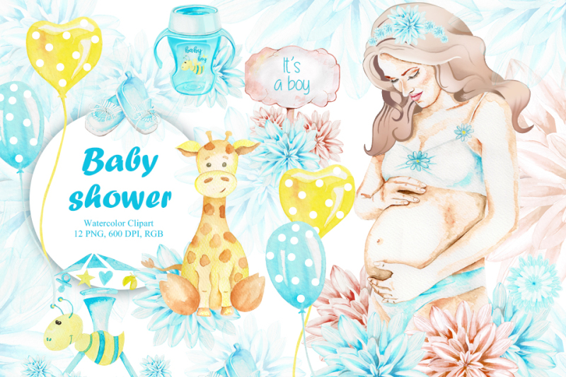 baby-shower-watercolor-it-is-a-boy-pregnancy-handpainted-clipart