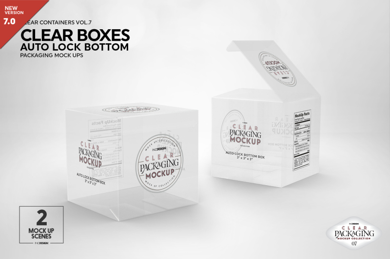 Free Clear Lock Bottom Boxes Packaging MockUp (PSD Mockups)