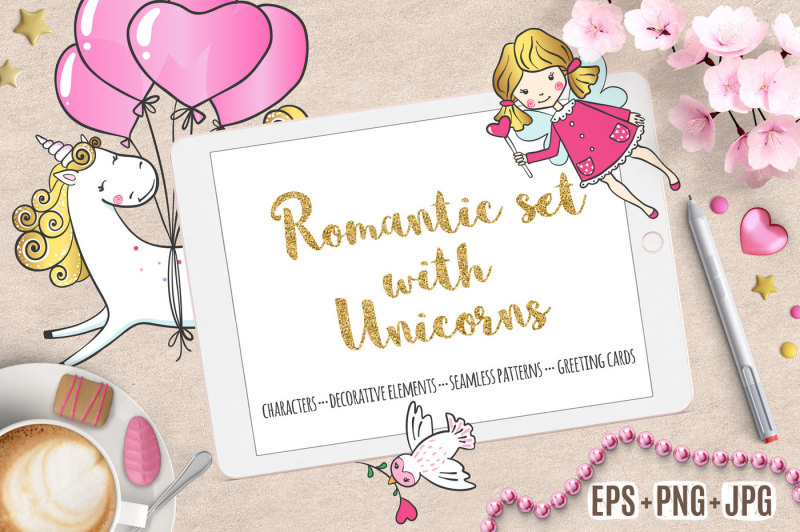 romantic-set-with-cute-unicorns