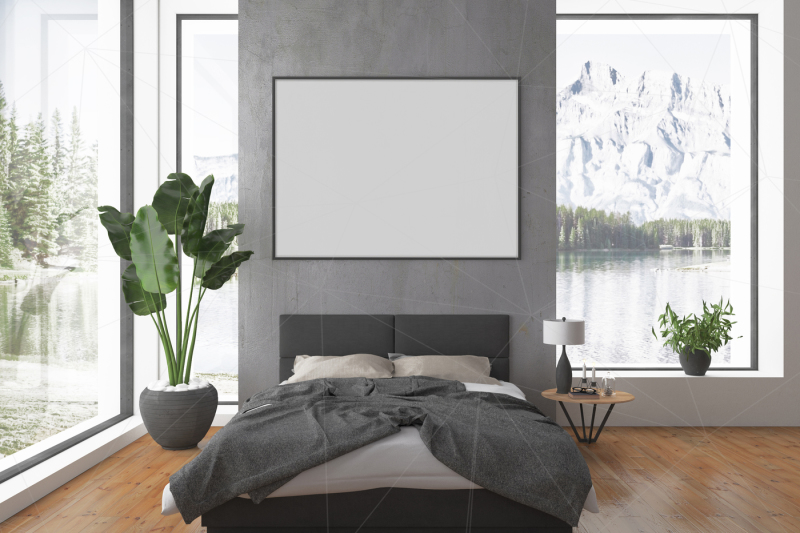 Free Bedroom Interior - blank wall mockup (PSD Mockups)