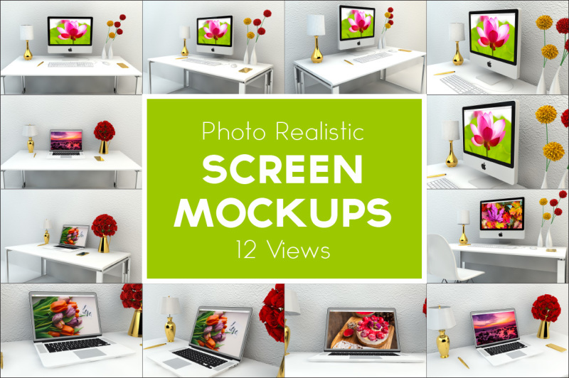 Free Screen Mockup - 12 Views (PSD Mockups)