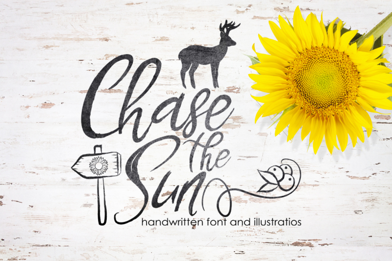 chase-the-sun-font-and-illustrations