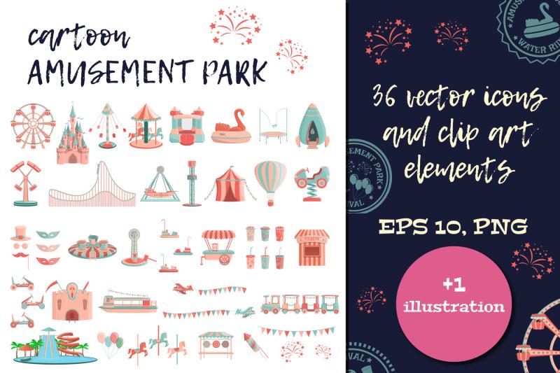 cartoon-amusement-park-icon-set